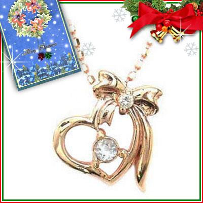 クリスマス限定Xmasカード付( 3月誕生石 ) K10ピンクゴールド アクアマリンペンダントネックレス【DEAL】