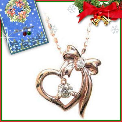 クリスマス限定Xmasカード付( 4月誕生石 ) K10ピンクゴールド ダイヤモンドペンダントネックレス