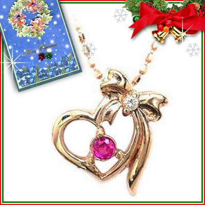 クリスマス限定Xmasカード付( 7月誕生石 ) K10ピンクゴールド ルビーペンダントネックレス【DEAL】