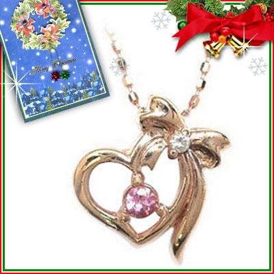 クリスマス限定Xmasカード付( 10月誕生石 ) K10ピンクゴールド ピンクトルマリンペンダントネックレス【DEAL】
