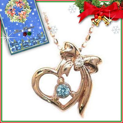 クリスマス限定Xmasカード付( 11月誕生石 ) K10ピンクゴールド ブルートパーズペンダントネックレス【DEAL】
