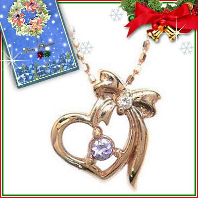 クリスマス限定Xmasカード付( 12月誕生石 ) K10ピンクゴールド タンザナイトペンダントネックレス【DEAL】