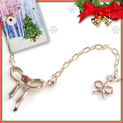 クリスマス限定Xmasカード付( 1月誕生石 ) K10ピンクゴールド ガーネットペンダントネックレス(リボンモチーフ)【DEAL】