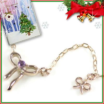 クリスマス限定Xmasカード付( 2月誕生石 ) K10ピンクゴールド アメジストペンダントネックレス(リボンモチーフ)【DEAL】
