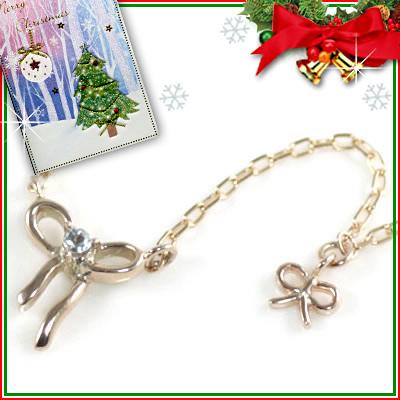クリスマス限定Xmasカード付( 3月誕生石 ) K10ピンクゴールド アクアマリンペンダントネックレス(リボンモチーフ)【DEAL】