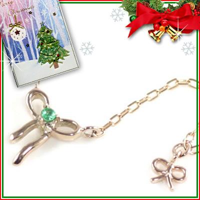 クリスマス限定Xmasカード付( 5月誕生石 ) K10ピンクゴールド エメラルドペンダントネックレス(リボンモチーフ)【DEAL】