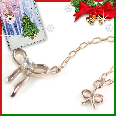 クリスマス限定Xmasカード付( 6月誕生石 ) K10ピンクゴールド ムーンストーンペンダントネックレス(リボンモチーフ)【DEAL】