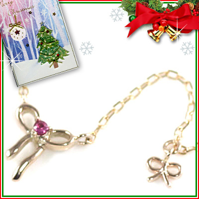 クリスマス限定Xmasカード付( 7月誕生石 ) K10ピンクゴールド ルビーペンダントネックレス(リボンモチーフ)【DEAL】