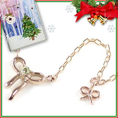 クリスマス限定Xmasカード付( 8月誕生石 ) K10ピンクゴールド ペリドットペンダントネックレス(リボンモチーフ)【DEAL】