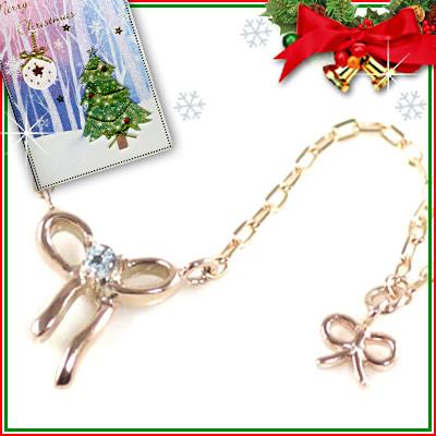 クリスマス限定Xmasカード付( 11月誕生石 ) K10ピンクゴールド ブルートパーズペンダントネックレス(リボンモチーフ)【DEAL】