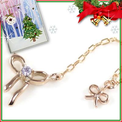 クリスマス限定Xmasカード付( 12月誕生石 ) K10ピンクゴールド タンザナイトペンダントネックレス(リボンモチーフ)【DEAL】