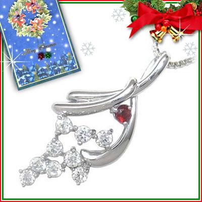 ガーネット ネックレス クリスマス限定Xmasカード付( 1月誕生石 ) K18ホワイトゴールド ダイヤモンド・ガーネットペンダントネックレス