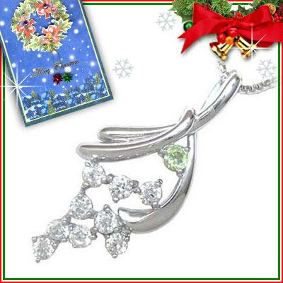 ペリドット ネックレス クリスマス限定Xmasカード付( 8月誕生石 ) K18ホワイトゴールド ダイヤモンド・ペリドットペンダントネックレス