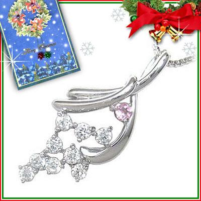 ピンクトルマリン ネックレス クリスマス限定Xmasカード付( 10月誕生石 ) K18ホワイトゴールド ダイヤモンド・ピンクトルマリンペンダントネックレス