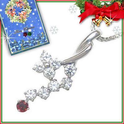 ガーネット ネックレス クリスマス限定Xmasカード付( 1月誕生石 ) K18ホワイトゴールド ダイヤモンド・ガーネットペンダントネックレス【DEAL】