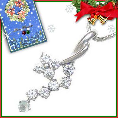 アクアマリン ネックレス クリスマス限定Xmasカード付( 3月誕生石 ) K18ホワイトゴールド ダイヤモンド・アクアマリンペンダントネックレス【DEAL】