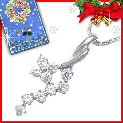 ムーンストーン ネックレス クリスマス限定Xmasカード付( 6月誕生石 ) K18ホワイトゴールド ダイヤモンド・ムーンストーンペンダントネックレス【DEAL】