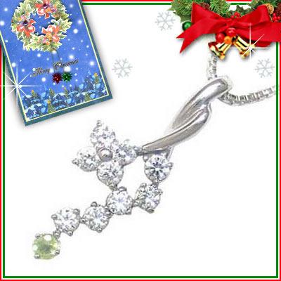 ペリドット ネックレス クリスマス限定Xmasカード付( 8月誕生石 ) K18ホワイトゴールド ダイヤモンド・ペリドットペンダントネックレス【DEAL】