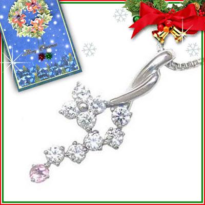 ピンクトルマリン ネックレス クリスマス限定Xmasカード付( 10月誕生石 ) K18ホワイトゴールド ダイヤモンド・ピンクトルマリンペンダントネックレス【DEAL】