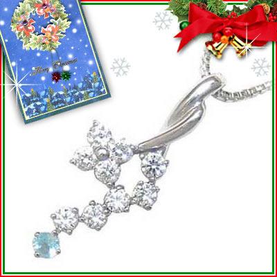ブルートパーズ ネックレス クリスマス限定Xmasカード付( 11月誕生石 ) K18ホワイトゴールド ダイヤモンド・ブルートパーズペンダントネックレス【DEAL】