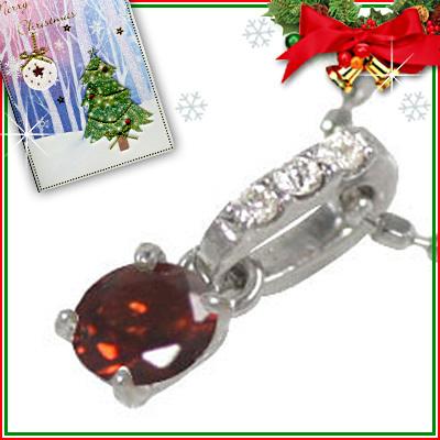 ガーネット ネックレス クリスマス限定Xmasカード付( 1月誕生石 ) K18ホワイトゴールド ガーネットペンダントネックレス【DEAL】