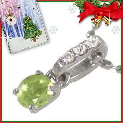 ペリドット ネックレス クリスマス限定Xmasカード付( 8月誕生石 ) K18ホワイトゴールド ペリドットペンダントネックレス【DEAL】