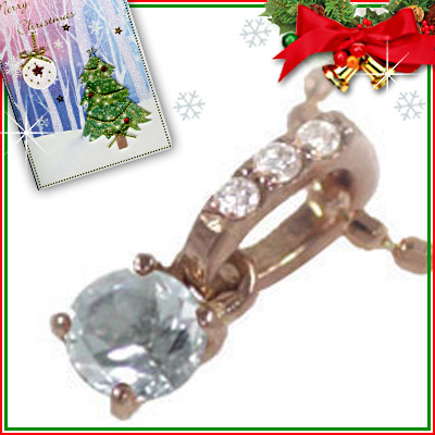 アクアマリン ネックレス クリスマス限定Xmasカード付( 3月誕生石 ) K18ピンクゴールド アクアマリンペンダントネックレス【DEAL】