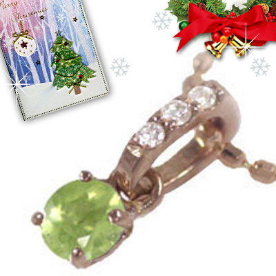 ペリドット ネックレス クリスマス限定Xmasカード付( 8月誕生石 ) K18ピンクゴールド ペリドットペンダントネックレス【DEAL】