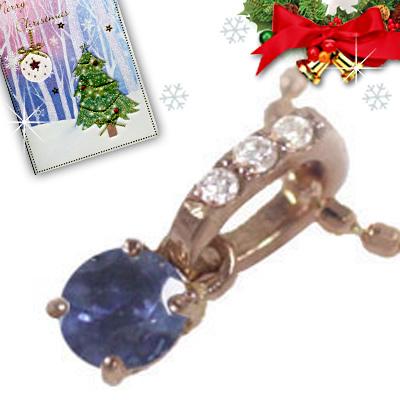 サファイア ネックレス クリスマス限定Xmasカード付( 9月誕生石 ) K18ピンクゴールド サファイアペンダントネックレス【DEAL】