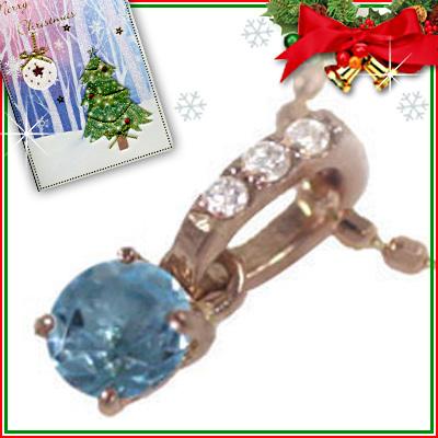 ブルートパーズ ネックレス クリスマス限定Xmasカード付( 11月誕生石 ) K18ピンクゴールド ブルートパーズペンダントネックレス【DEAL】