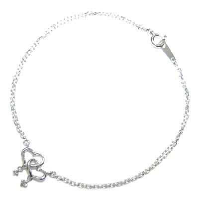 ( Brand Jewelry me. ) K10ホワイトゴールド ダイヤモンドブレスレット(ハートモチーフ) 末広 スーパーSALE