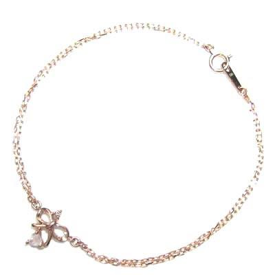 ( Brand Jewelry me. ) K10ピンクゴールド ダイヤモンド・クォーツブレスレット(リボンモチーフ)