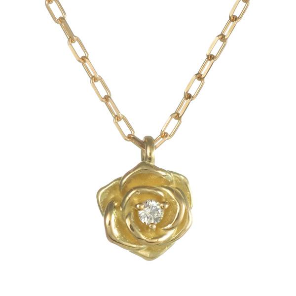 ネックレス K18イエローゴールド 18金 K18 18k ダイヤモンド 薔薇 バラ ローズ 人気 おすすめ レディース 女性【DEAL】