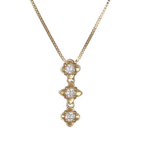 ペンダント K18イエローゴールド 18金 K18 18k ダイヤモンド 花 フラワー 人気 おすすめ レディース 女性