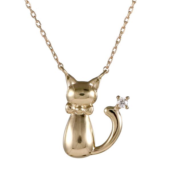 ペンダント K10イエローゴールド 10金 K10 10k ダイヤモンド 猫 人気 おすすめ レディース 女性【DEAL】