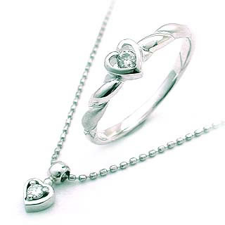 K18WGダイヤモンドリング・Pt ネックレス