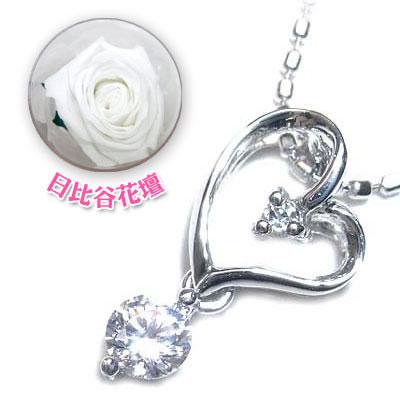 ( 4月誕生石 ) K18ホワイトゴールドダイヤモンドペンダントネックレス(母の日 限定 日比谷花壇誕生色バラ付) 【DEAL】