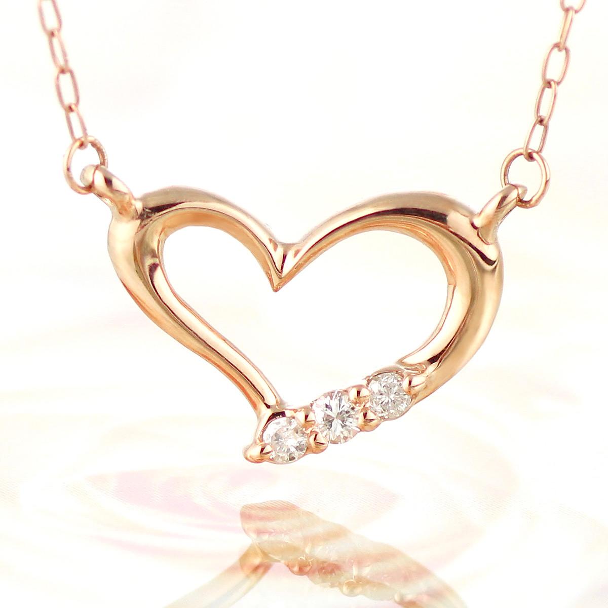 ハート ネックレス K10 ピンクゴールドダイヤモンド 10金 ペンダントネックレス【あす楽】