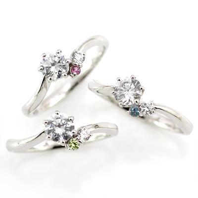 選べる誕生石 プラチナ ダイヤモンドリング(婚約指輪・エンゲージリング)【DEAL】