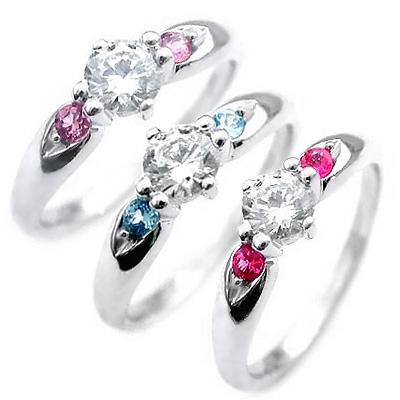 クリスマス限定Xmasカード付 選べる誕生石 プラチナ ダイヤモンドリング(婚約指輪・エンゲージリング)【DEAL】