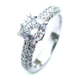 エンゲージリング ダイヤモンドリング 1カラット 1ct パヴェ プラチナリング 一粒 大粒 結婚記念 結婚10周年 サプライズ ギフト プレゼント 退職記念 鑑別書付