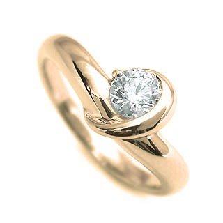 婚約指輪 エンゲージリング ダイヤモンド ダイヤ K18YG リング 末広 スーパーSALE