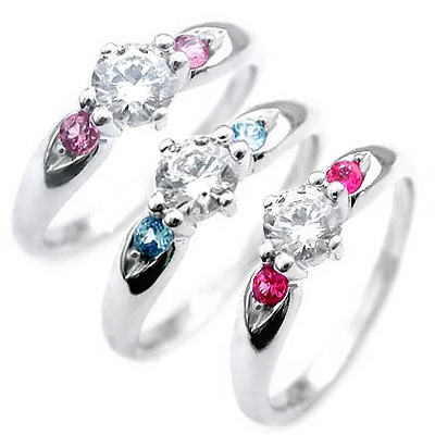 選べる誕生石 プラチナ ダイヤモンドリング(婚約指輪・エンゲージリング) 【DEAL】