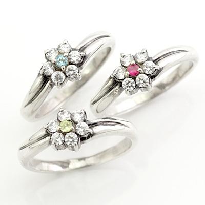 クリスマス限定Xmasカード付 選べる誕生石 プラチナ ダイヤモンドリング(婚約指輪・エンゲージリング)