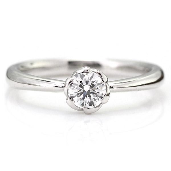 鑑定書付 婚約指輪 ダイヤモンド プラチナ リング エンゲージリング ダイヤモンド ダイヤリング 一粒 大粒 プロポーズ用 0.35ct