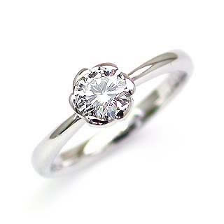 フラワー AneCan掲載 (Brand アニーベル) Pt ダイヤモンドデザインリング(婚約指輪・エンゲージリング) ソリティア 一粒 末広 スーパーSALE