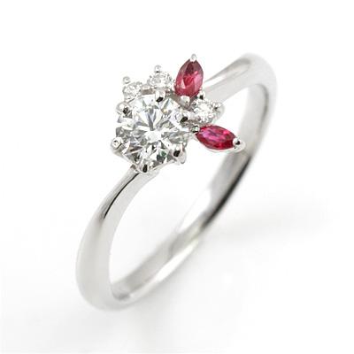 CanCam掲載( 婚約指輪 ) ダイヤモンド プラチナエンゲージリング( 7月誕生石リング) ルビー