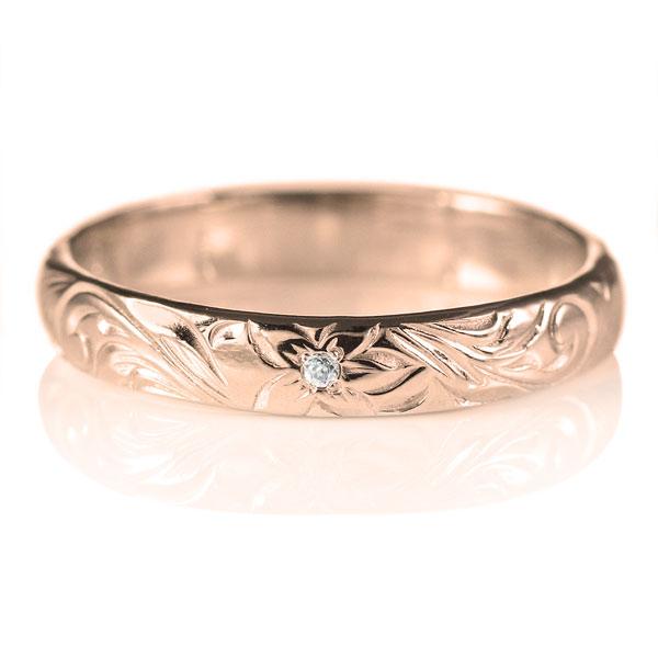 ハワイアンジュエリー マリッジリング ダイヤモンド リング K18ピンクゴールド