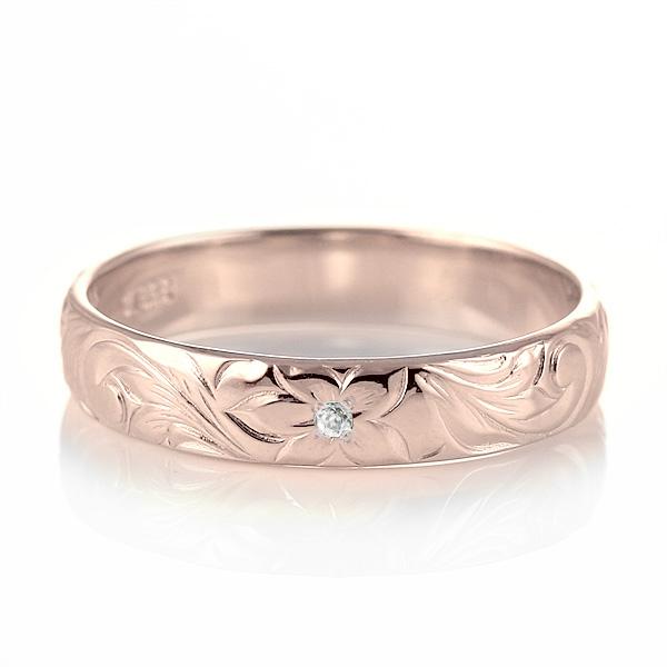 ハワイアンジュエリー 結婚指輪 ペアリング ダイヤモンド 刻印無料 k18 ピンクゴールド 18金 幅4mm ペアリング スクロール 指輪 マリッジリング メンズ レディース