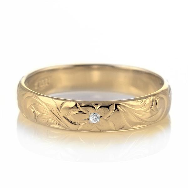 ハワイアンジュエリー 結婚指輪 ペアリング ダイヤモンド 刻印無料 k18 イエローゴールド 18金 幅4mm ペアリング スクロール 指輪 マリッジリング メンズ レディース